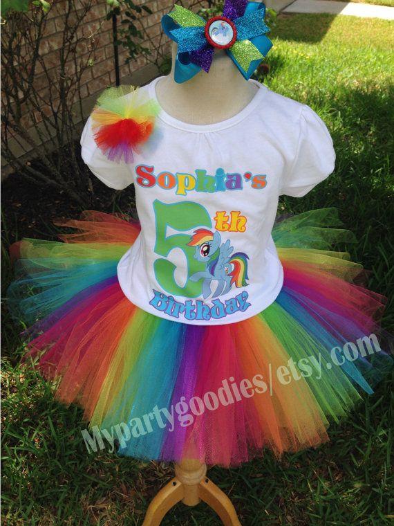Rainbow Dash Birthday Outfit, My little Pony Birthday tutu, Rainbow Dash Tutu,Rainbow Dash birthday shirt.