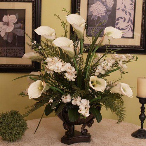 Rust Dancing Silk Orchids With Grass Floral Home Decor Florals: Arrangements Faux Flowers