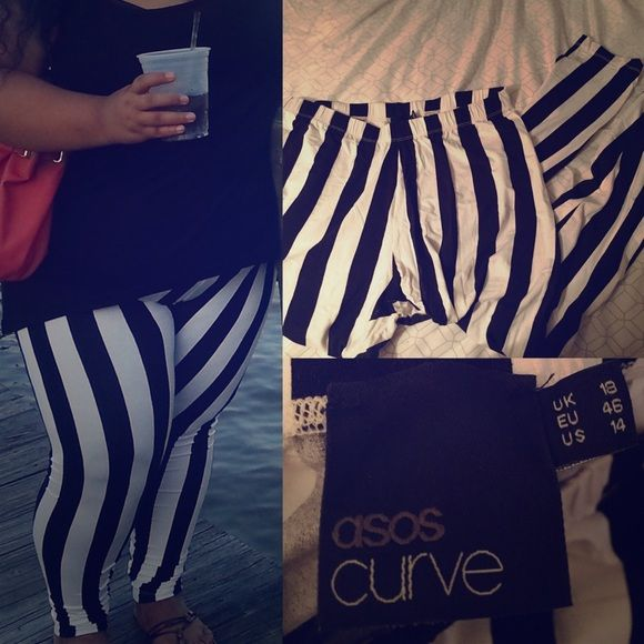 ASOS Curve Black White Stripe Leggings UK 18 US 14 Wore these twice, in good condition.  Stretchy, so these can be worn from 1X to 2X. ASOS Pants Leggings