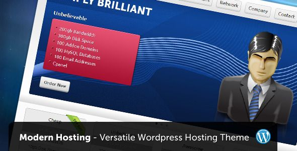 Modern Hosting - WordPress Version   http://themeforest.net/item/modern-hosting-wordpress-version/685185?ref=damiamio       Modern Hosting features the great look of the HTML as well as extra versatility and updated features as a WordPress theme.  	 The WordPress version allows you to easily add and manage hosting plans, manage network of websites, pages, testimonials, blog and more. It comes with three different styled backgrounds and allows the use of Google font instead of Cufon.  	…