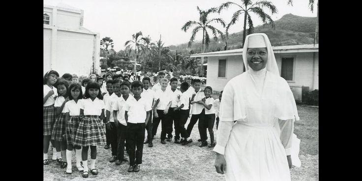 #TBT Sister M. Rosalind Santos, SSND, at Mount Carmel School in Agat, Guam, 1969.