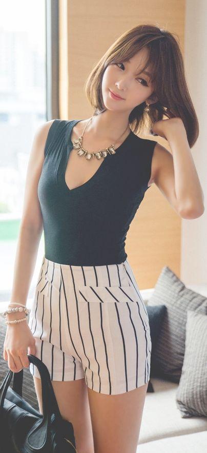 Luxe Asian Women Design Korean Model Fashion Style Deep Black Top