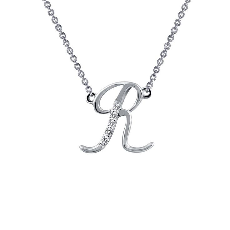 Calligraphy R Initial Necklace From LAFONN In Platinum Bonded Sterling Silver And Simulated