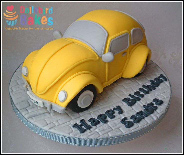 VW Beetle Cake - by DollybirdBakes @ CakesDecor.com - cake decorating website