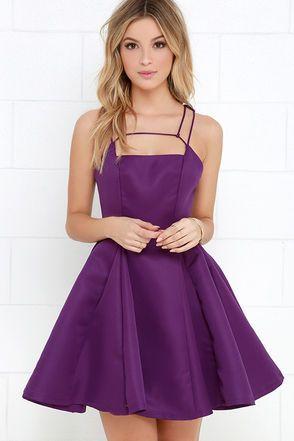 Don de la rima de púrpura vestido del patinador en Lulus.com!