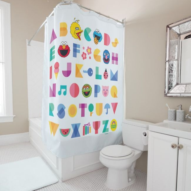 Sesame Street Alphabet Shower Curtain Zazzle Com Kid Bathroom