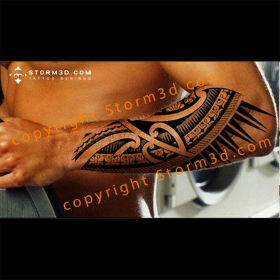 Awesome Polynesian elbow/forearm tattoo with turtle patterns
