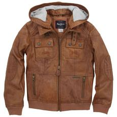 Pepe Jeans - Leather jacket with a removable hood - 39311