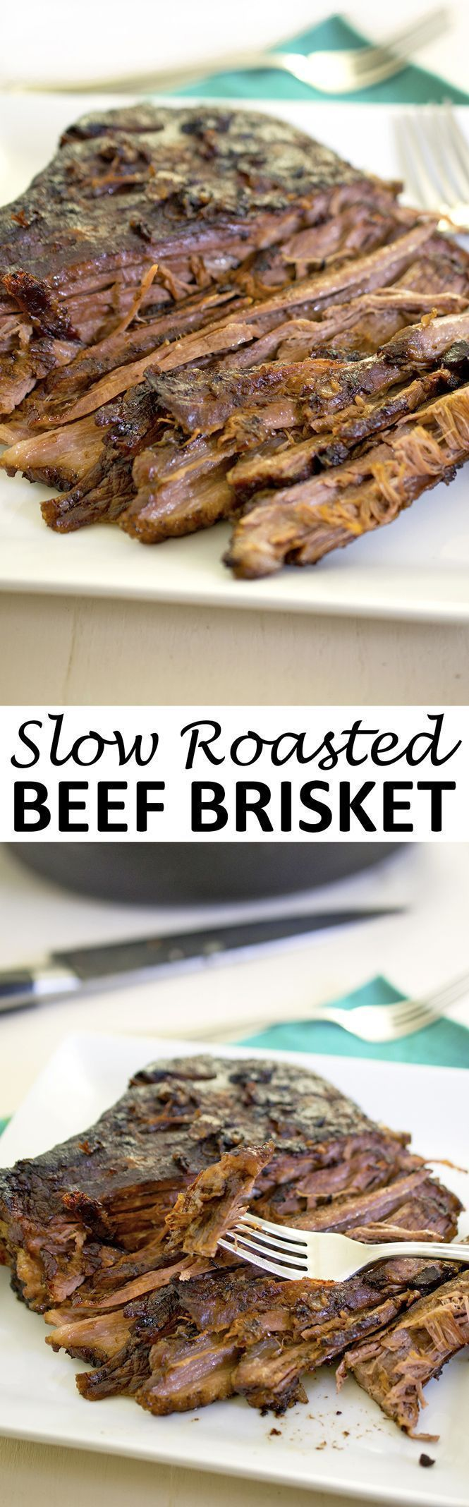 Oven Roasted Beef Brisket smothered with roasted vegetables, red wine, and beef stock. A perfect make ahead Sunday dinner. | chefsavvy.com #recipe #slow #roasted #beef #brisket