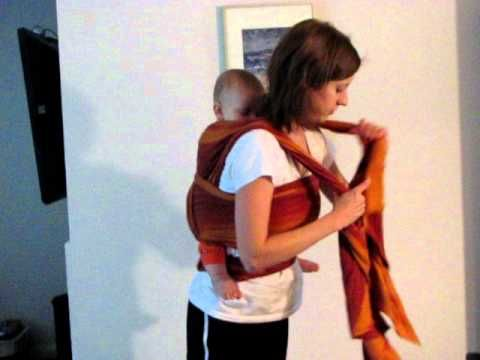 Most comfortable wrap back carry #babywearing Basically a triple hammock good for leg straighteners.