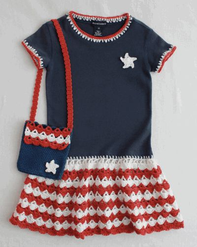 Create a fuss-free T-shirt dress to celebrate the Fourth, or to cover up a swimsuit while having fun at the lake or pool. What a pretty way to be patriotic for the holiday or anytime during the warm summer months. This fun and functional Patriotic T-Shirt Dress And Purse ensemble is easy to make and looks spectacular on the girl that gets to wear it. Red and white crochet shell skirt and trim can be added to any size t-shirt or turtl