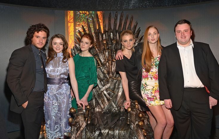"""(L-R) Actors Kit Harington, Maisie Williams, Rose Leslie, Natalie Dormer, Sophie Turner, and John Bradley attend """"Game Of Thrones"""" The Exhibition New York Opening at 3 West 57th Avenue on March 27, 2013 in New York City."""
