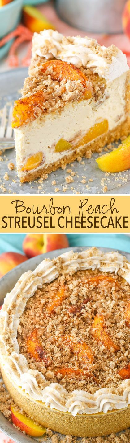 Bourbon Peach Streusel Cheesecake - Peaches, cinnamon, brown sugar, and bourbon in one amazing cheesecake!