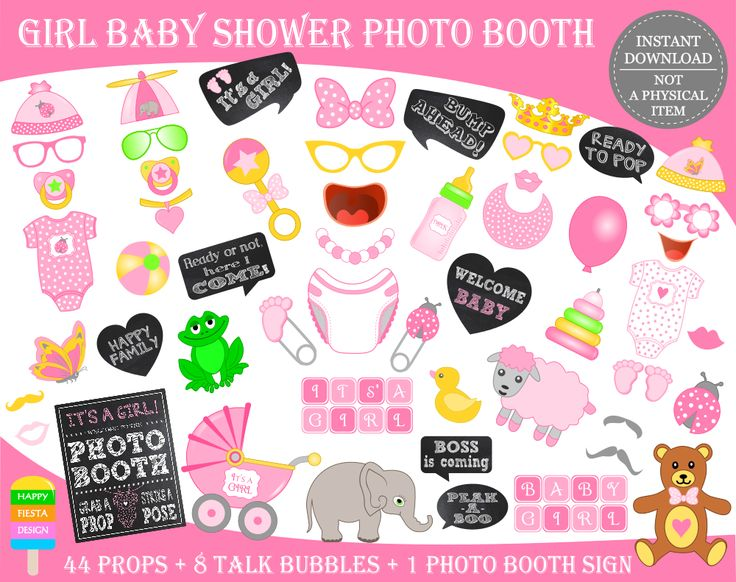PRINTABLE Baby Shower Photo Booth Props–Baby Shower Props–It's a Girl Props-Printable Baby Girl Props-Baby Photo Props-Instant Download