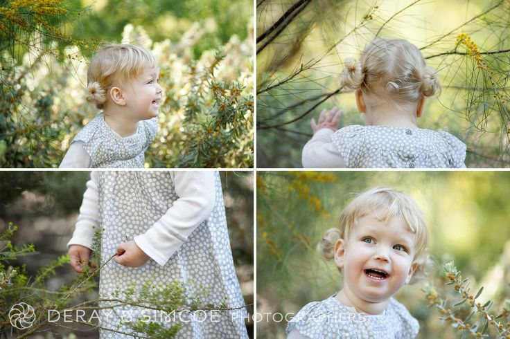 What to wear to a family portrait? Neutral grey and white tones on a little girl with cute piggy tails! Photography by DeRay & Simcoe
