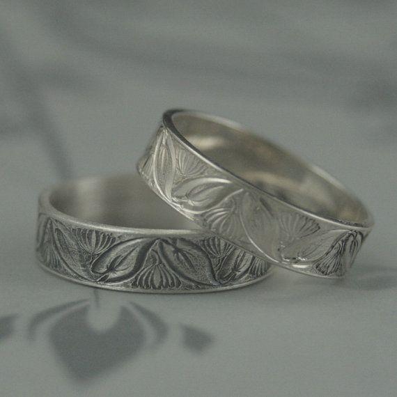 Band Lotus Ring Lily Band Mens Wedding Ring Womens Wedding Band Lotus Engagement Ring Water Lily Band Silver Wedding Ring Flat Edge Band