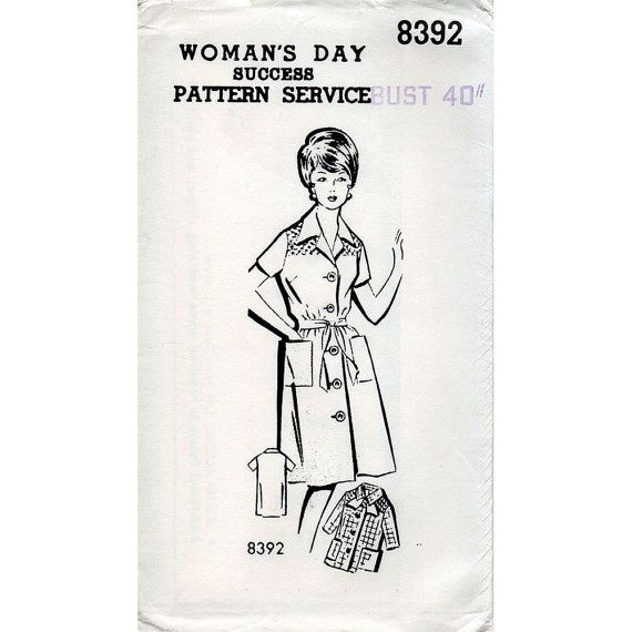 If going quirky: maybe? In green or blue small floral. 1960s Smocked Shirtdress House Coat or Smock Pattern Woman's Day Mail Order Vintage Sewing Pattern Bust 40 Plus Size FF Unused