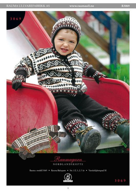 R3069-R3069 Nordlandskofte, genser, bukse, lue, votter og sokker, Rauma-garn