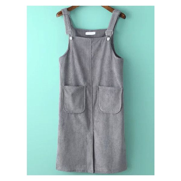 Ribbed Split Corduroy Pale Grey Pinafore Dress ($20) ❤ liked on Polyvore featuring dresses, pinny dress, pinafore dress, ribbed dress, rib dress and corduroy dress