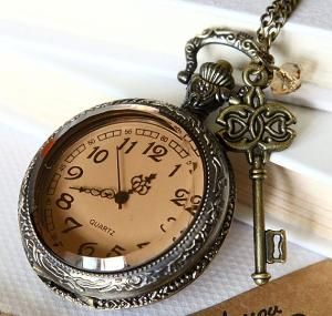 big size transparent Pocket watch Locket Necklace by qizhouhuang $10.50