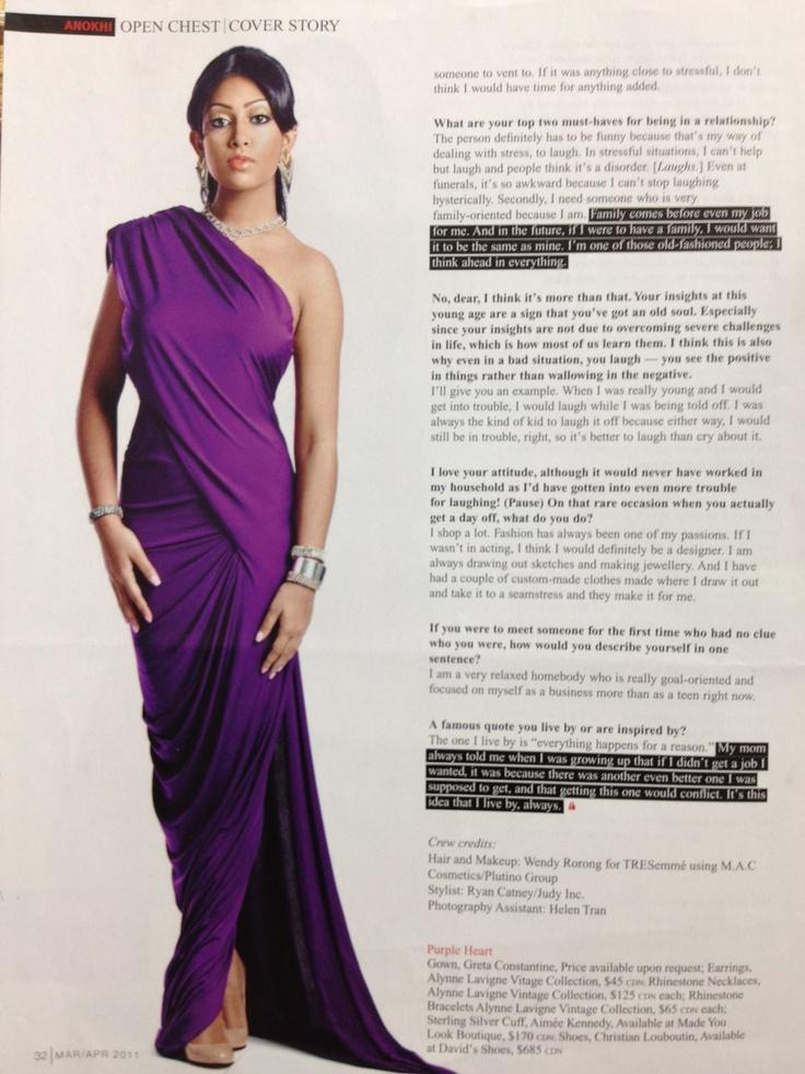 Melinda Shankar aka Degrassi's Ali Bhandari interviewed for Anokhi magazine wearing a Greta gown