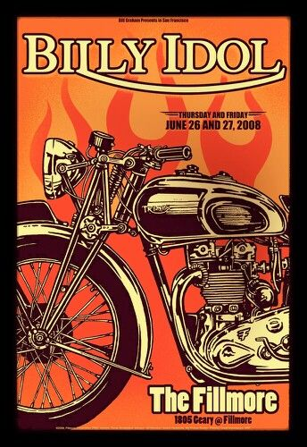 Billy Idol Concert Poster,  Fillmore, San Francisco