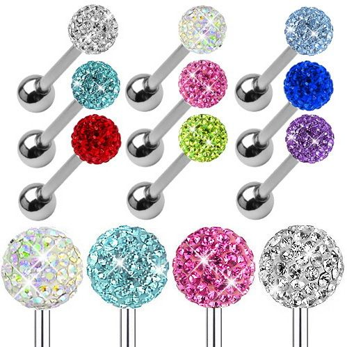 50pcs Tongue Piercing Stainless Steel Barbell ball CZ Gem Crystal Tongue rings body jewelry pircing langue septum tunnels women