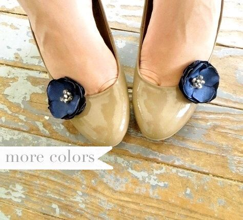 Navy Shoe Clips, Something Blue Navy Wedding Shoe Accessory, Small Fabric Flower Shoe Clips, Navy Bridesmaid Accessories, Bridal Shoe Clip by InspiredGreetingsAD on Etsy https://www.etsy.com/listing/195704757/navy-shoe-clips-something-blue-navy
