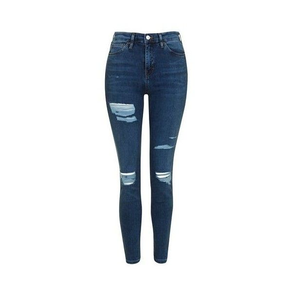 TopShop Moto Super Rip Jamie Jeans (€57) ❤ liked on Polyvore featuring jeans, mid stone, distressed skinny jeans, skinny jeans, high waisted ripped skinny jeans, stretch jeans and distressed jeans