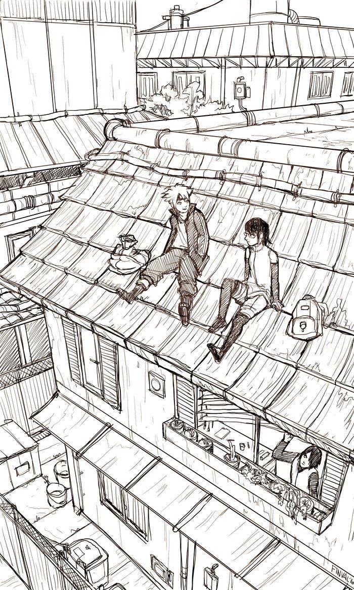 Boruto and Sarada.  The best part is papa Sasuke eyeing them.  I just really appreciate Finval's art!! #naruto