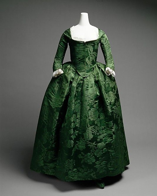 Green silk damask round gown, 1775.