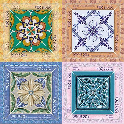 Почтовые марки «Декоративно-прикладное искусство России. Керамические изразцы»