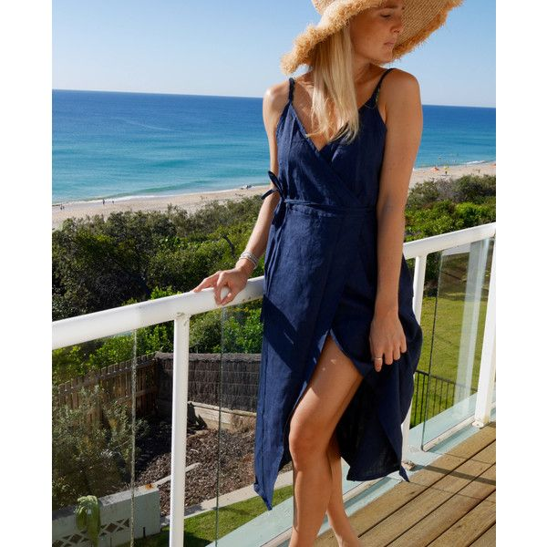 Wrap Dress Navy Linen Wrap Around Dress Beach Dress Ladies Fashion ($59) ❤ liked on Polyvore featuring dresses, dark olive, women's clothing, wrap around skirt, wrap around dress, summer beach dresses, special occasion dresses and navy cocktail dress