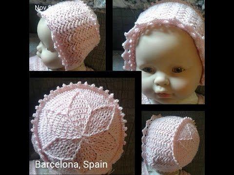 Ajuar para bebés: Gorrito bautismal (ganchillo / crochet) - Baby hat - YouTube