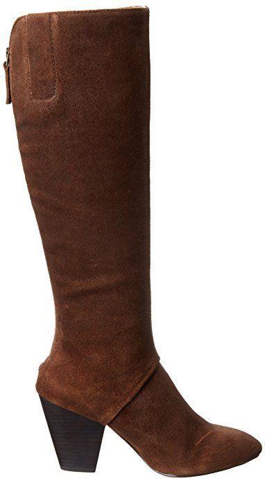 Womens Nine West Knee High Dude Western Boots Cuban Heel, Dark Brown, 12 Leather #NineWest #KneeHighBoots