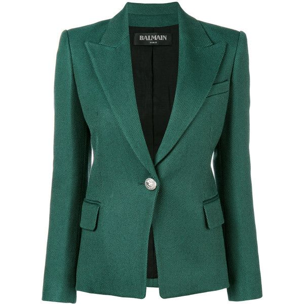 Balmain fitted blazer ($2,238) ❤ liked on Polyvore featuring outerwear, jackets, blazers, green, green leather jacket, genuine leather jackets, real leather jackets, leather straight jacket and balmain blazer