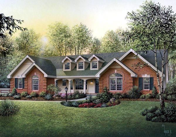 Cape cod country ranch southern traditional house plan for Brick ranch house plans