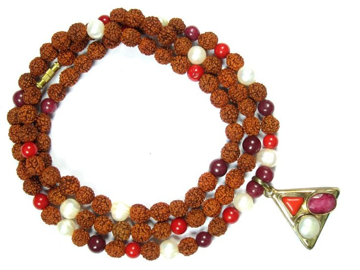 Protection Mala Beads Coral Pearl Rudraksha Hindu Prayer Rosary Mala, Yoga Gift