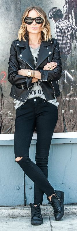 Black skinnies, grey tee, leather jacket: what would make a better rocker girl outfit? Via Anine Bing  Jeans: Anine Bing, Tee: Anine Bing, Shoes: Anine Bing, Jacket: Anine Bing