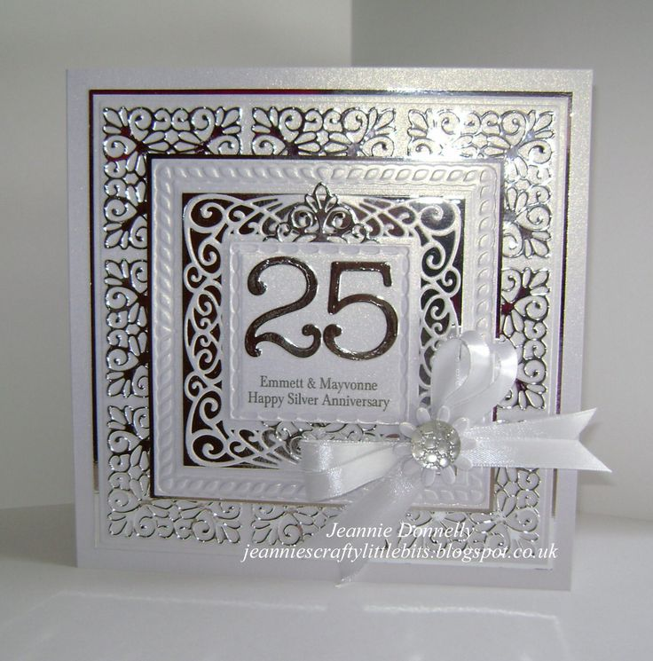 I got a new Sue Wilsons designs Die from Creative Expressions, New York Times Square and I'm really impressed with how well they cut here it is used for a 25th Silver Anniversary Card - also using a Spellbinders Grand Square Die and Memory Box Numbers -