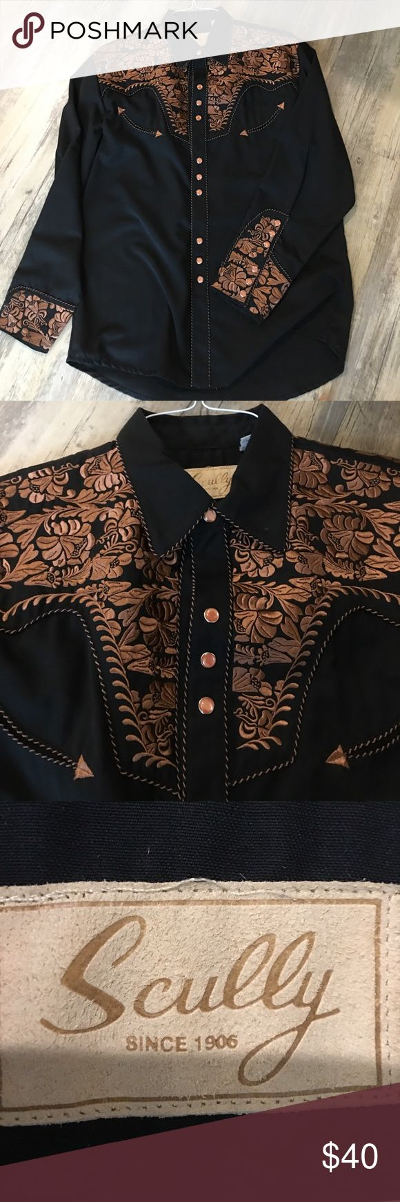 Men's Scully Pearl Snap Shirt Authentic Scully Men's Pearl Snap Shirt- size M- almost new- worn a few times- in beautiful shape! Scully Shirts Dress Shirts