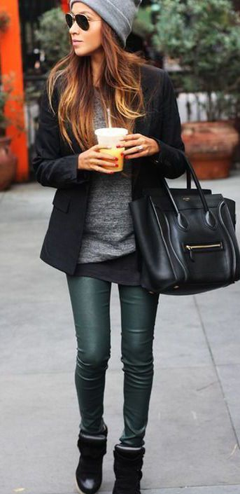 #winter #fashion / green + knit layers