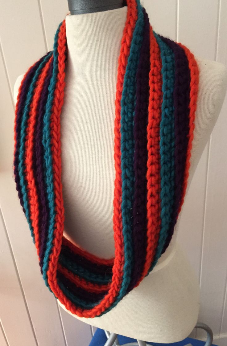 Orange, Purple and Teal crochet cowl by GreenfishBluefish on Etsy