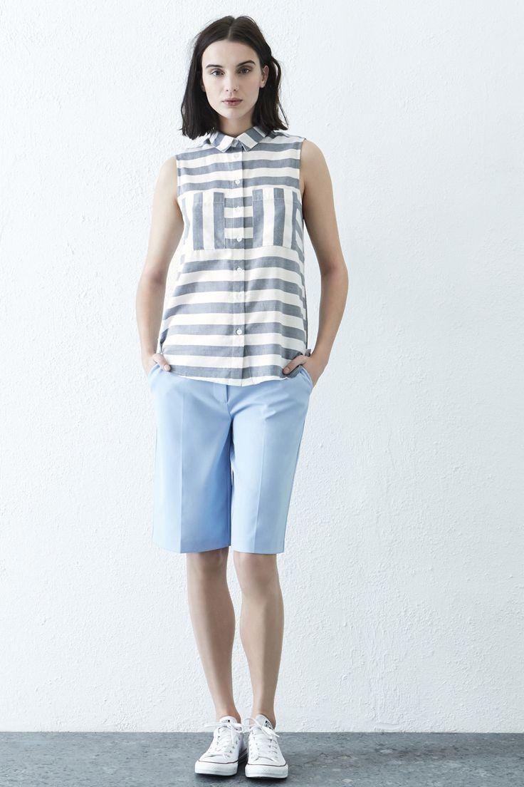 Clothing | Blue Stripe Sleeveless Shirt | Warehouse