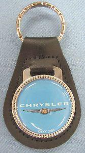 Vintage-Blue-CHRYSLER-Wings-Logo-Leather-USA-Keyring-Key-Fob-Key-Holder