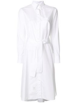 fd2c581847 Save on Long Sleeve A-line Belted Shirtdress In Solid Poplin | Women ...