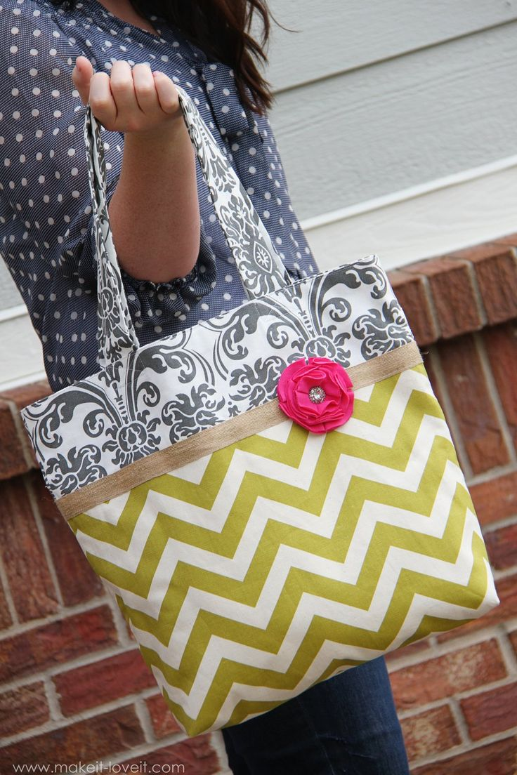 Make these gorgeous two-tone fabric totes with this easy ...