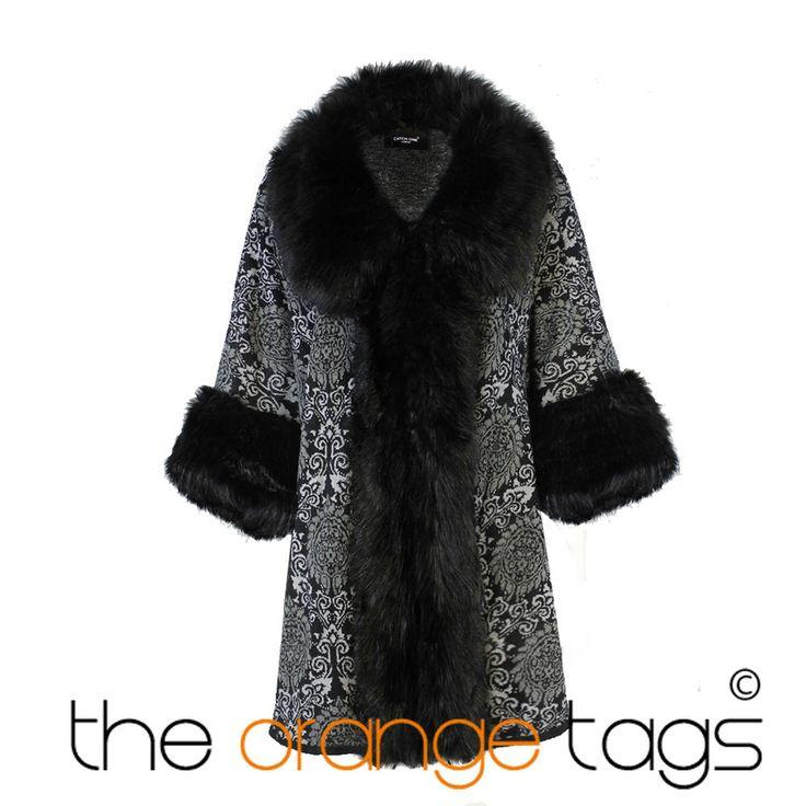 LADIES BLACK FAUX FUR CAPE WINTER PONCHO WOMENS PRINTED WRAP COAT