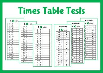 Times table tests from 2 times table to the 10 times table. Answers are included.