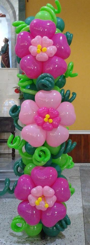 BELLAS FLORES flower balloon column!! beautiful